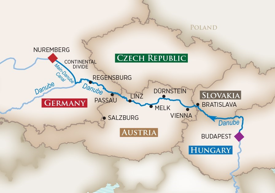 Itinerary map of Blue Danube Discovery (Budapest to Nuremberg)
