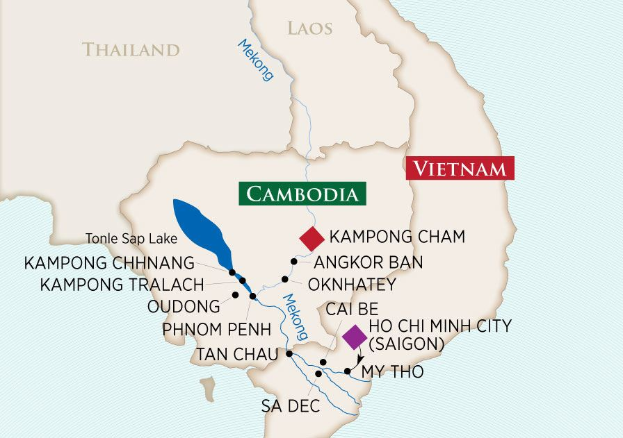 Itinerary map of Charms of the Mekong (Ho Chi Minh City to Prek Kdam)