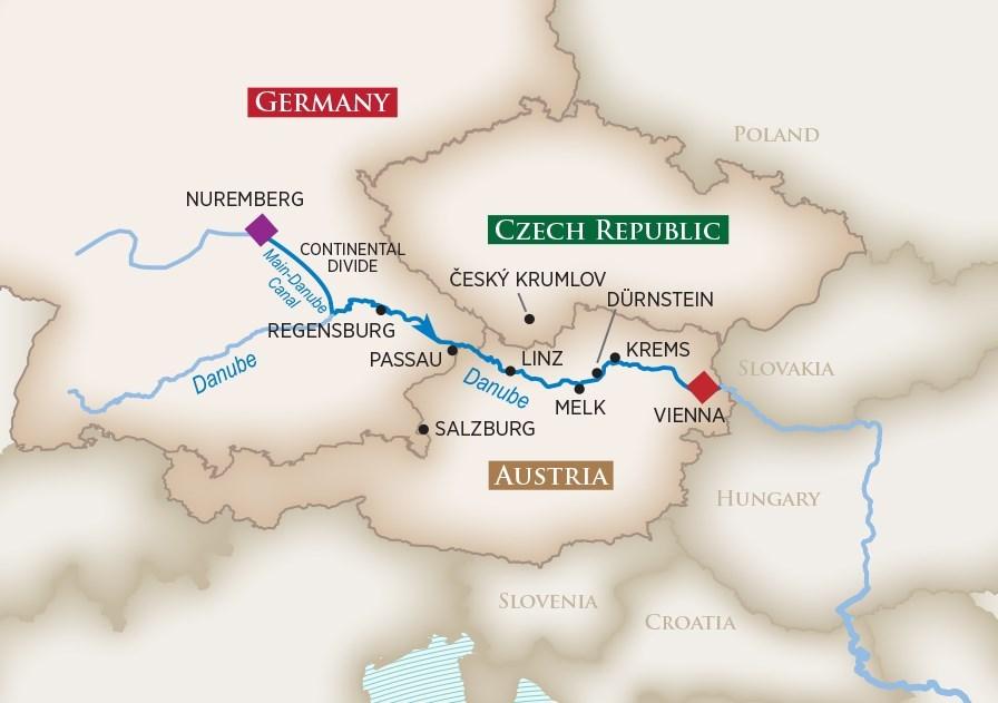 Itinerary map of Danube Serenade (Nuremberg to Vienna)