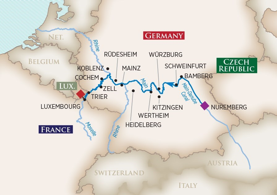 Itinerary map of Europe's Rivers & Castles (Nuremberg to Luxembourg)