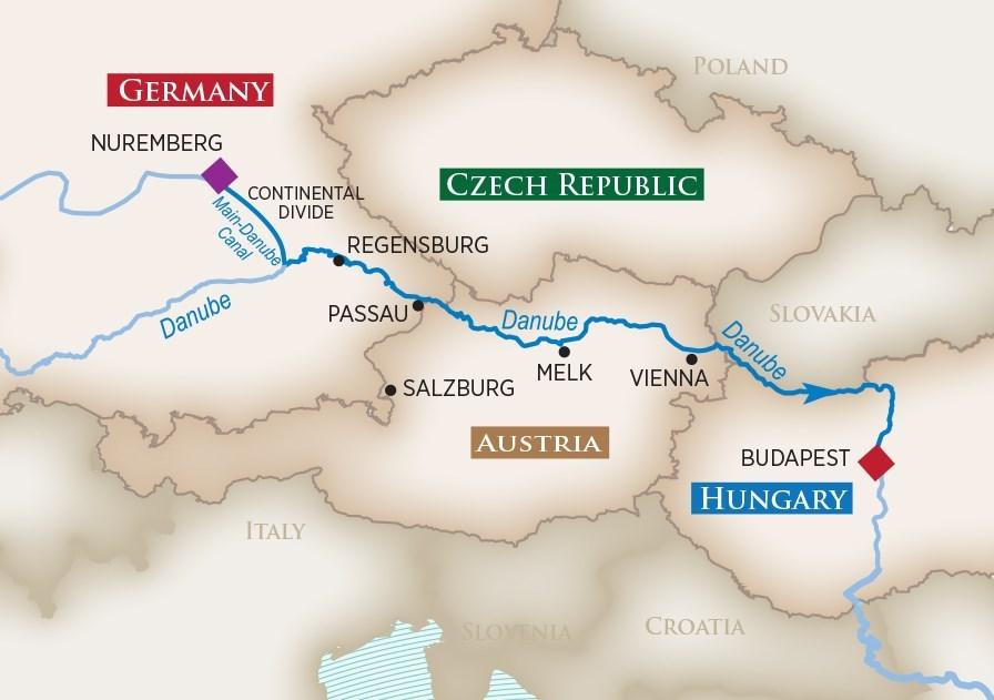 Itinerary map of Iconic Christmas Markets (Nuremberg to Budapest)