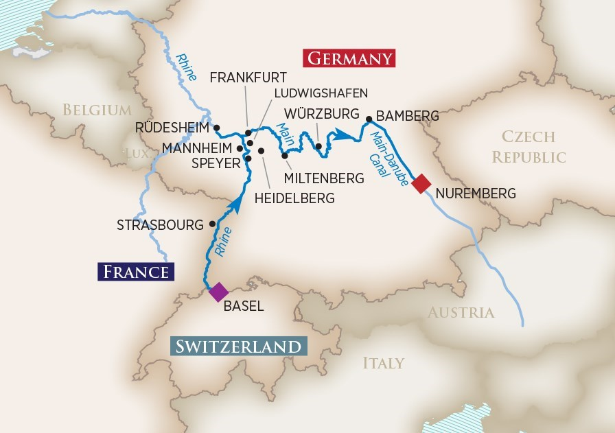 Itinerary map of Medieval Treasures (Basel to Nuremberg)