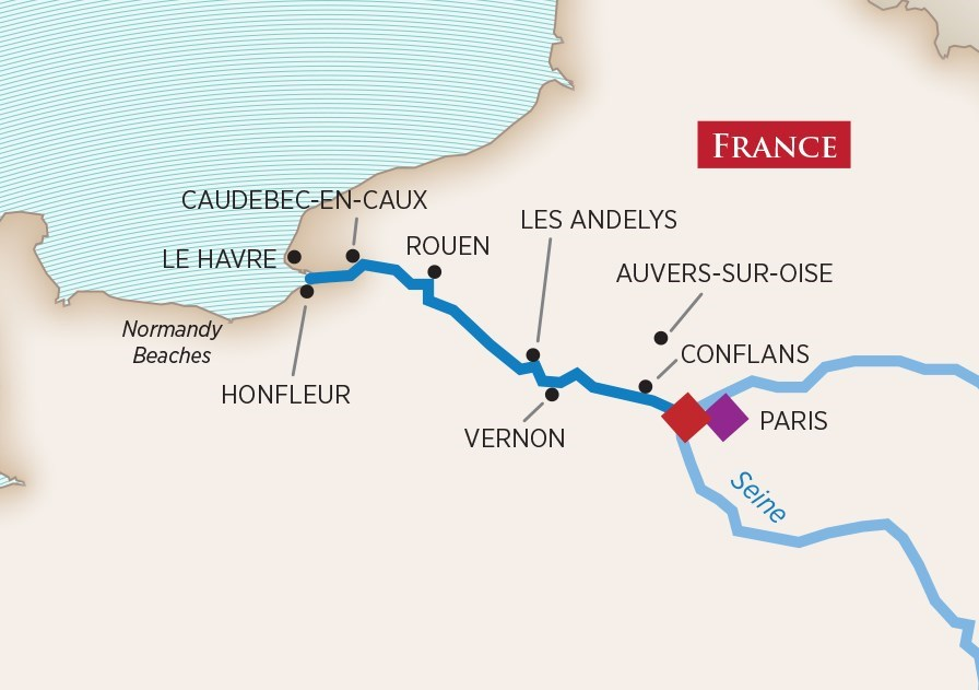 Itinerary map of Paris & Normandy