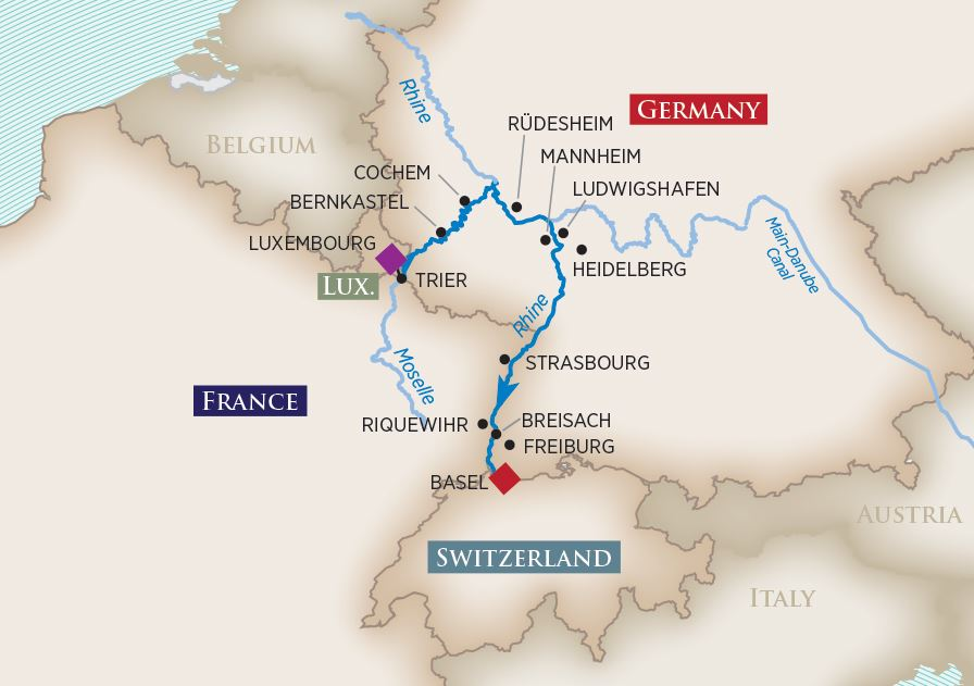 Itinerary map of Rhine & Moselle Splendors (Luxembourg to Basel)