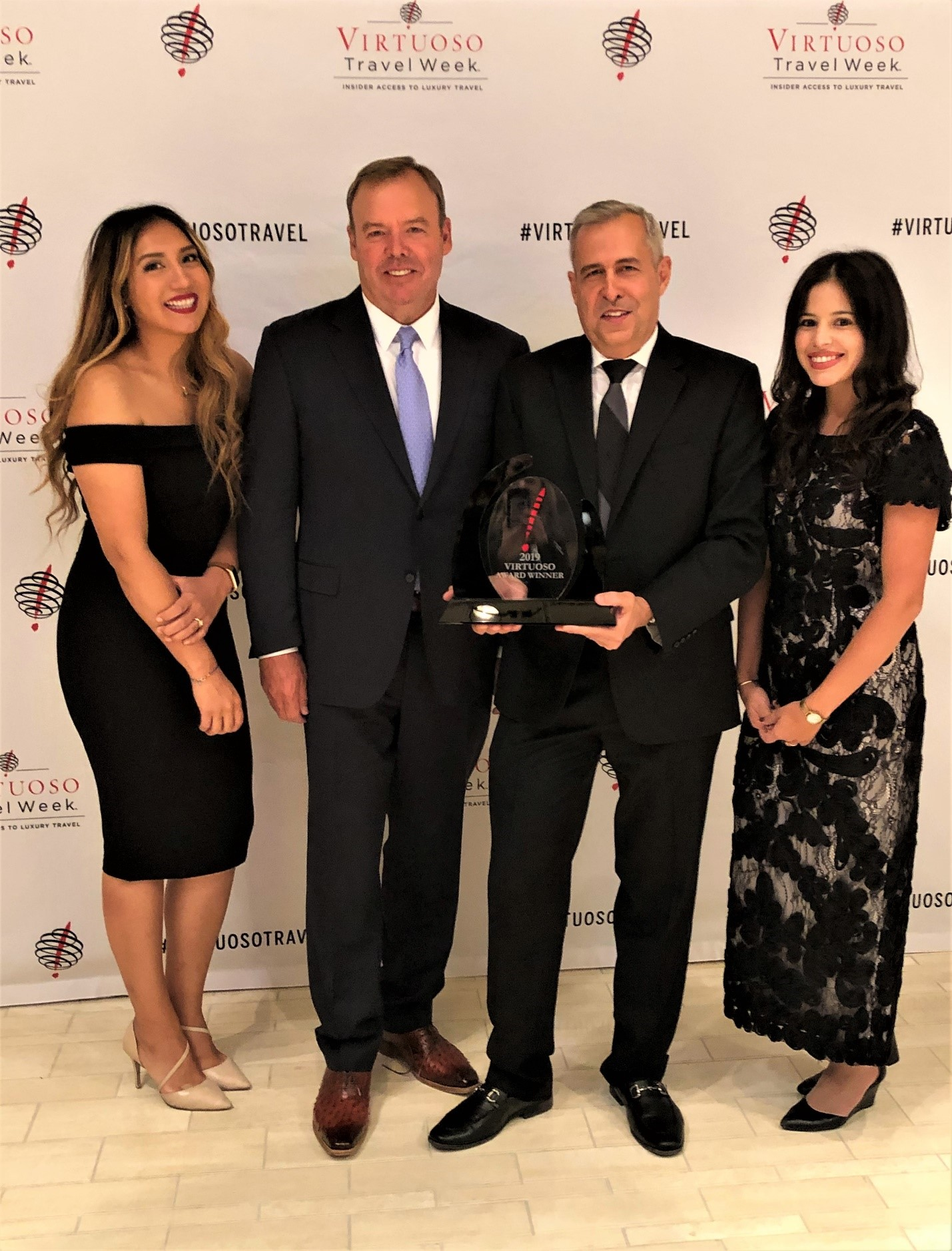 Elizabeth Yanes, manager, national accounts; Gary Murphy, co-owner and senior vice president, sales; Alex Pinelo, vice president, sales; Jenisse Melo, business development manager, Southern California - Global Luxury Travel Network Honors AmaWaterways at 31st Annual Virtuoso Travel Week